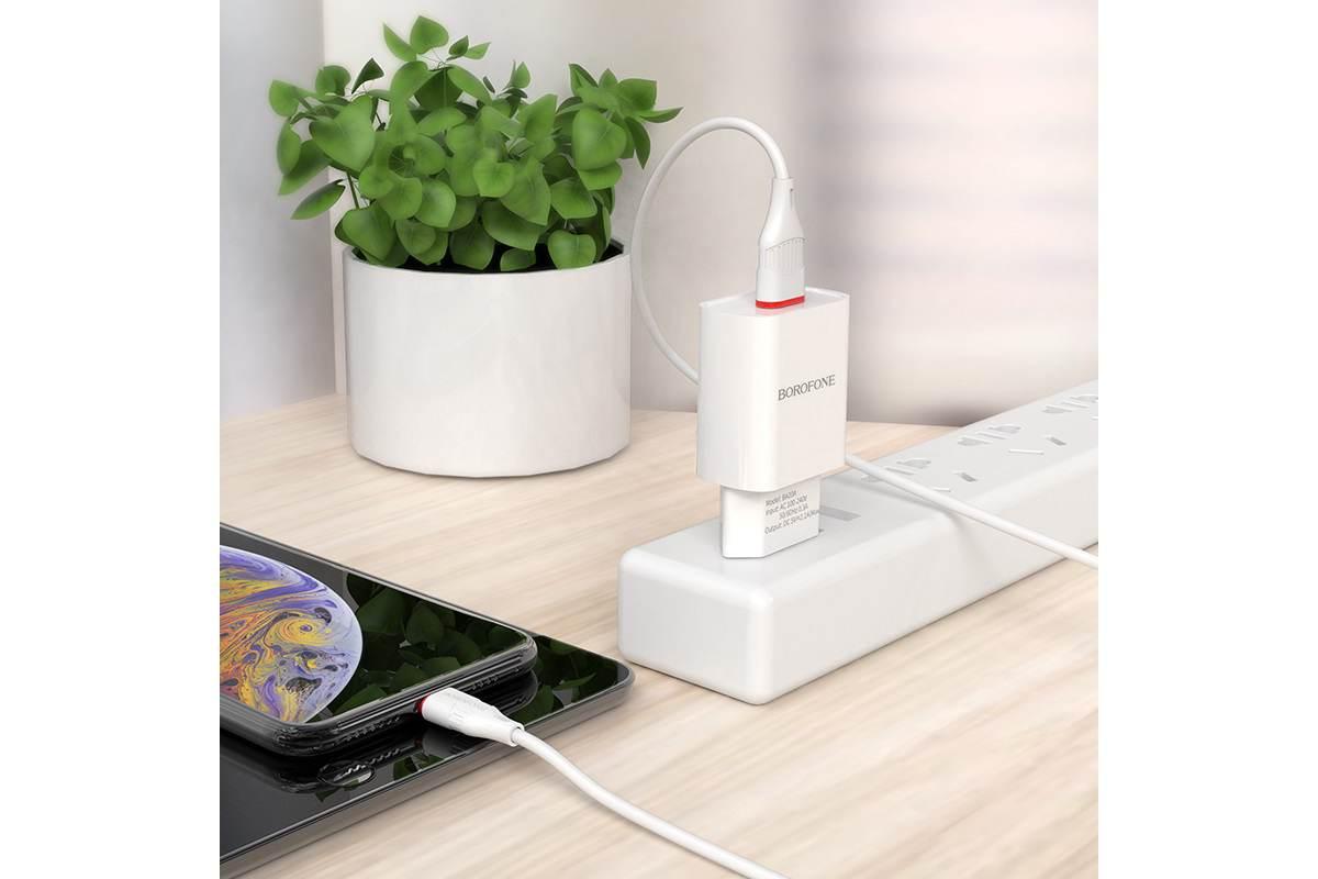 Сетевое зарядное устройство USB 2100mAh + кабель micro USB BOROFONE BA20A Sharp single port charger set белый