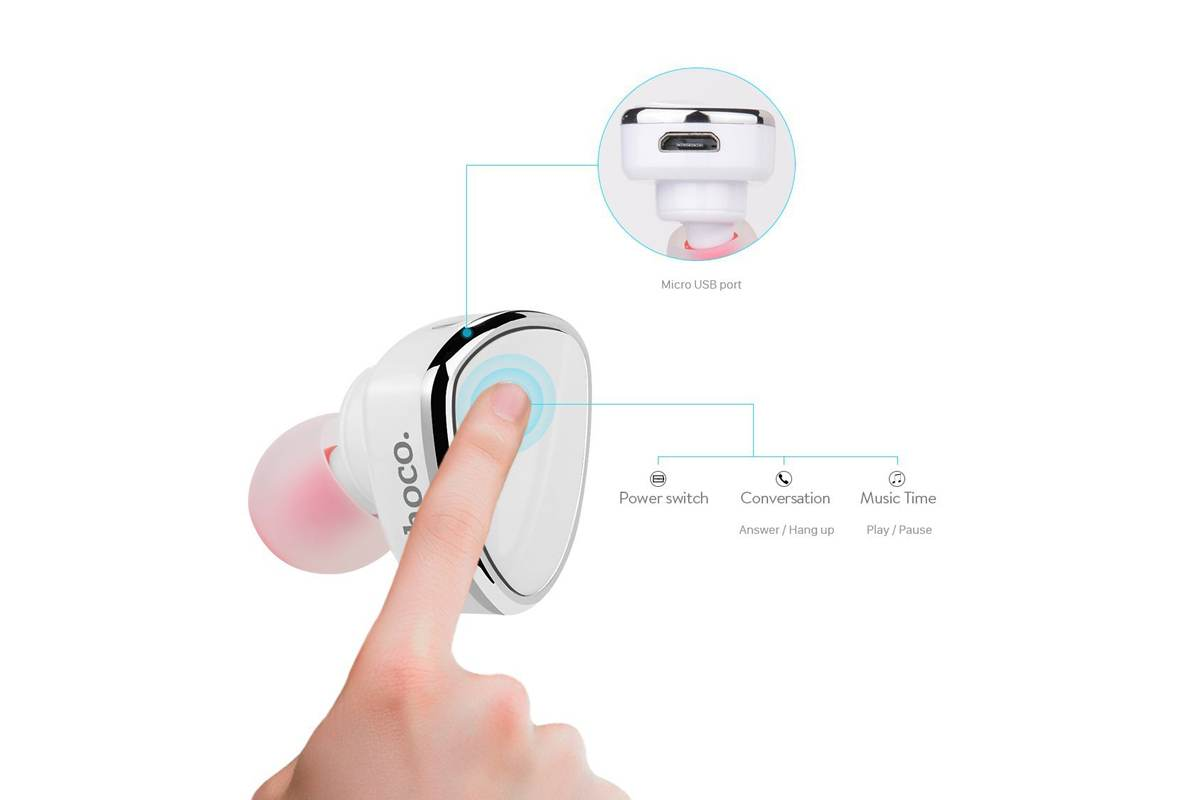Bluetooth-гарнитура E7 HOCO белая