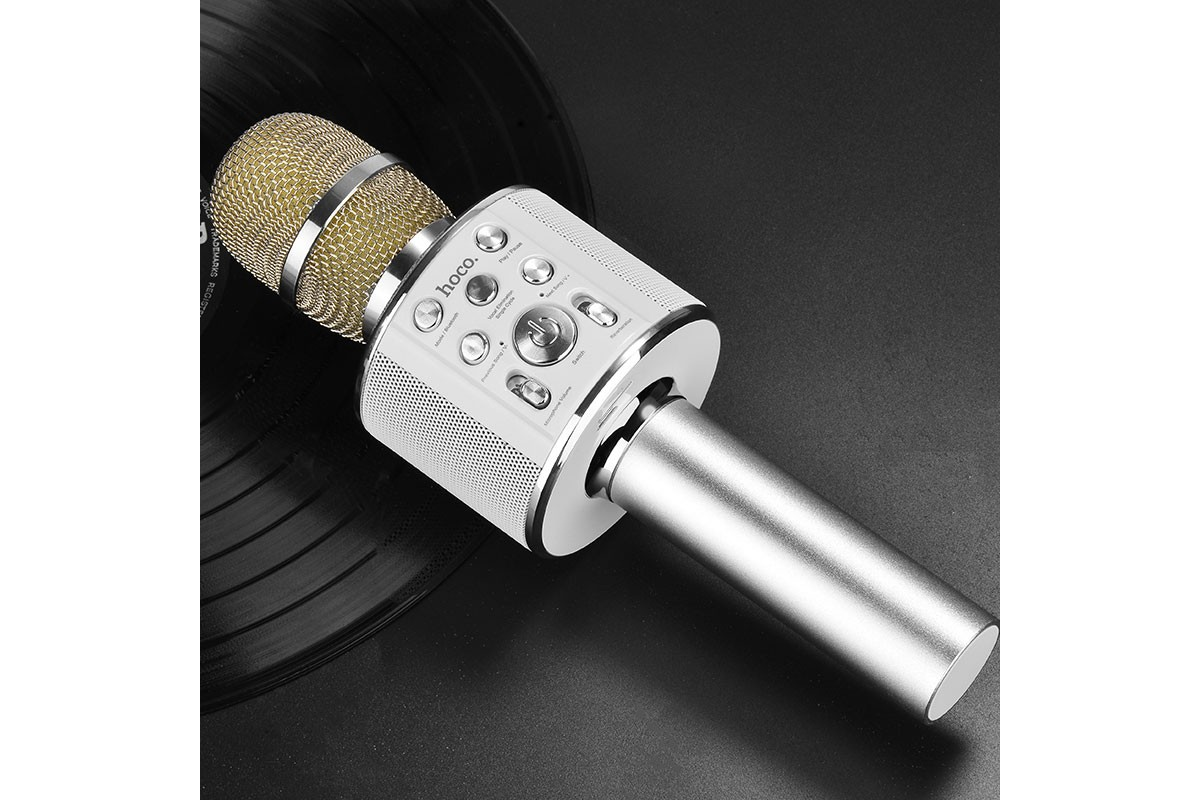 Портативная беспроводная акустика караоке HOCO BK Cool sound KTV microphone цвет серебро