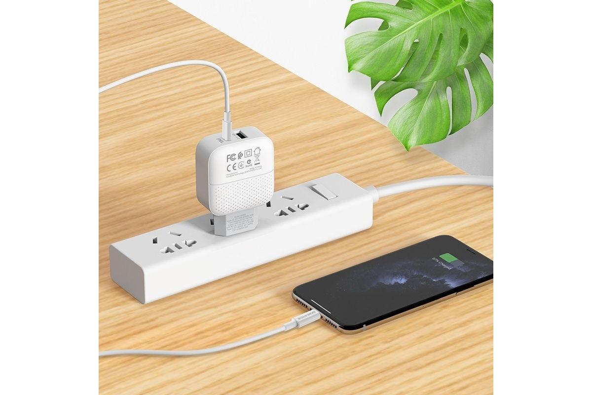 Сетевое зарядное устройство 3000mAh USB + Type-C 3000mAh  BOROFONE BA46A PD+ QC 3.0 18W черный