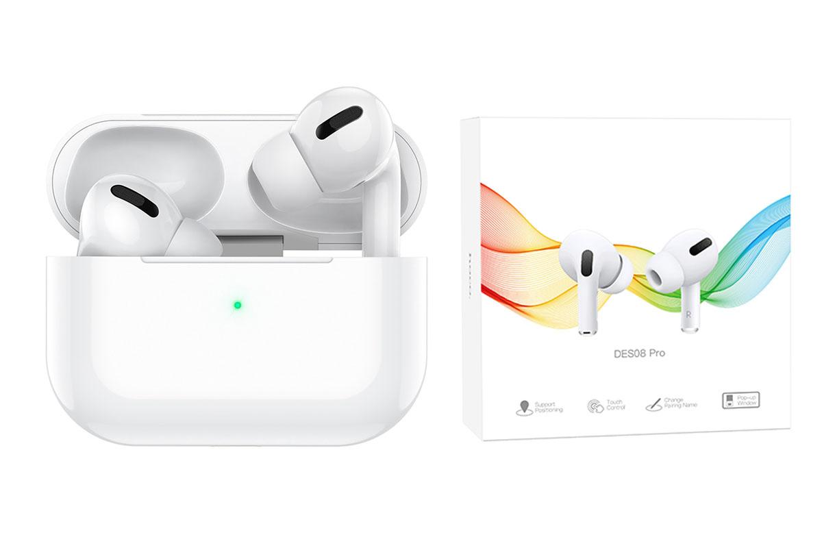 Беспроводные наушники DES08 Pro TWS wireless headset  HOCO белые