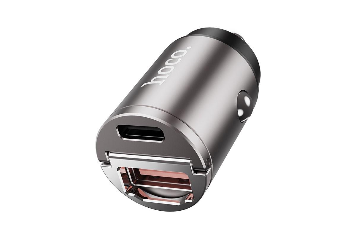 Автомобильное зарядное устройство USB + USB-C HOCO DZ1 Plus QC3.0 + PD  4800 mAh серый