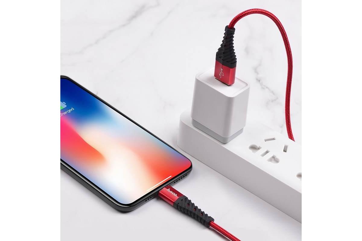 Кабель для iPhone HOCO X38 Cool Charging data cable for Lightning 1м красный