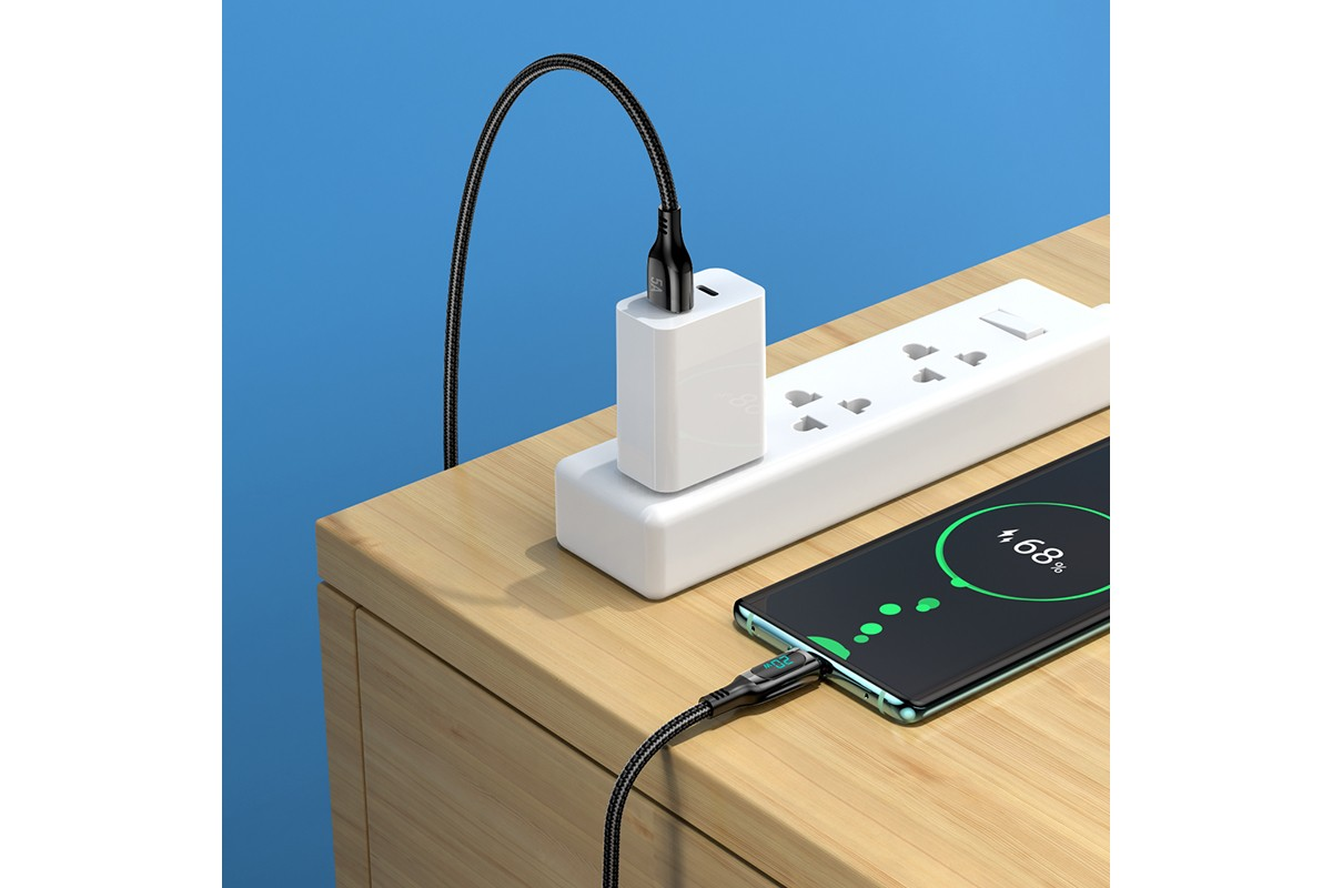 Кабель USB HOCO S51 5A Extreme Fast charging data cable for Type-C (черный) 1 метр