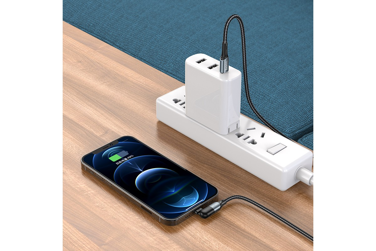Кабель для iPhone HOCO U100 Orbit PD fast charging data cable for Lightning черный