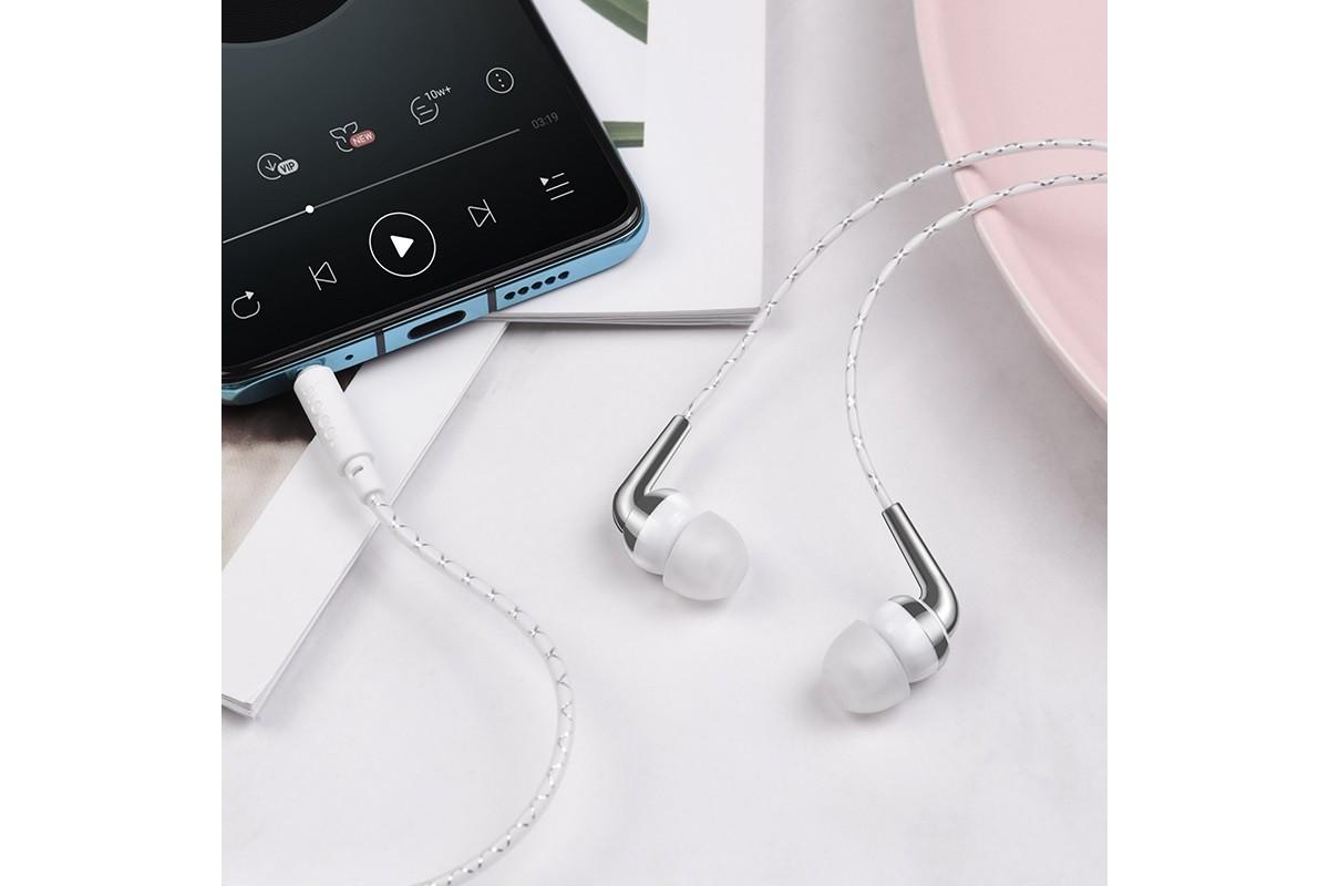 Гарнитура HOCO M71 Inspiring universal earphones белая
