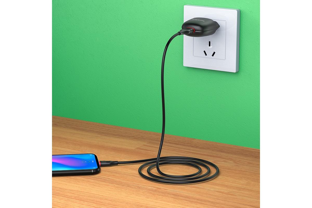 Сетевое зарядное устройство 2 USB 2400mAh + кабель iPhone 5/6/7 BOROFONE BA49A Vast Power single port charger set черный