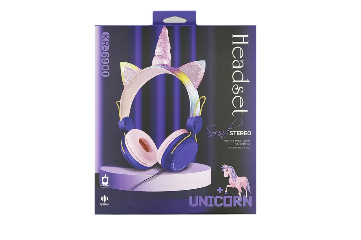Беспроводные внешние наушники KR-6900 UNICORN фиолетовый