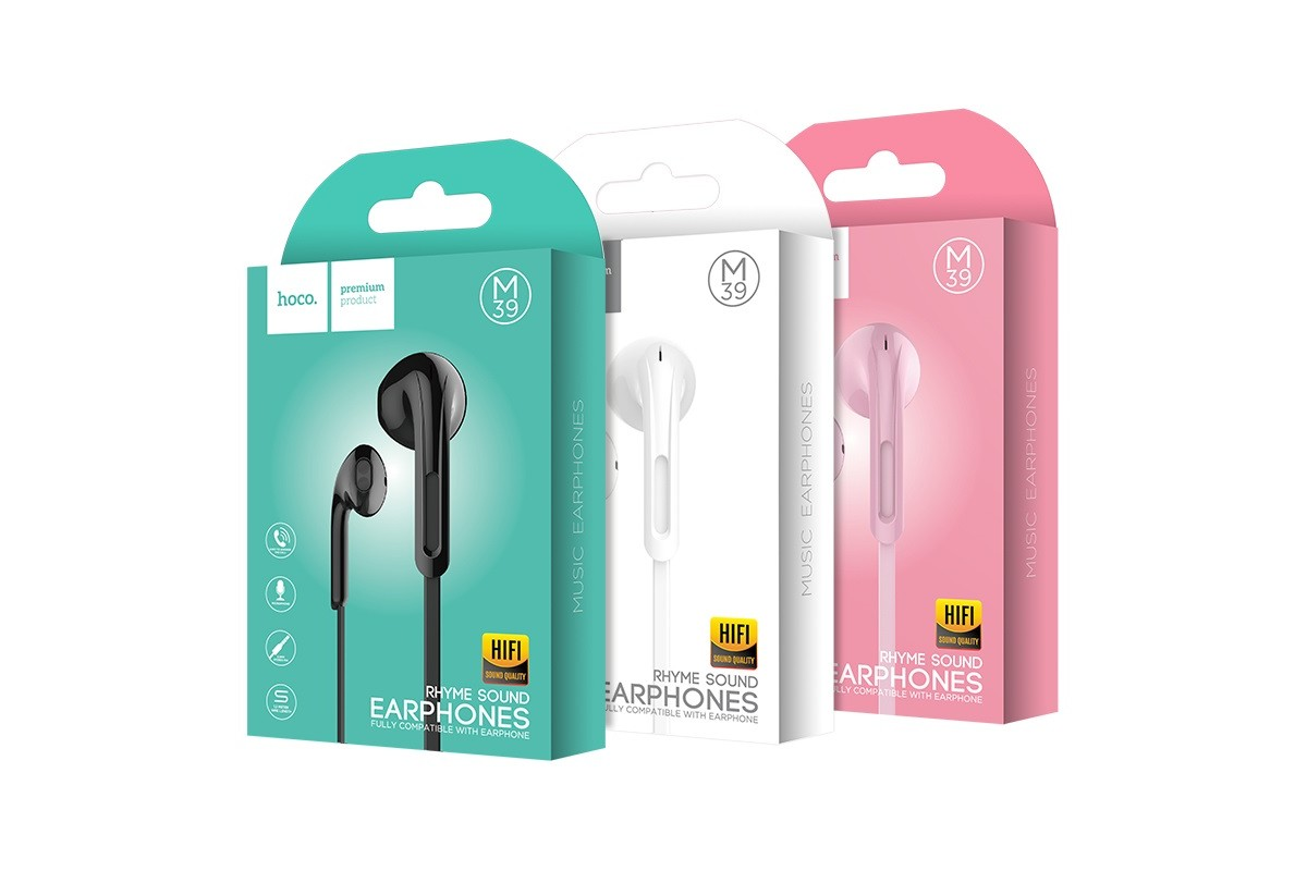 Гарнитура HOCO M39 Rhyme sound earphones with microphone 3.5мм черный
