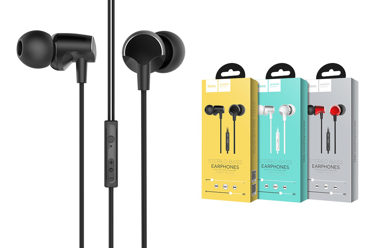 Гарнитура HOCO M41 Dizzy wire control earphones with mic 3.5мм черный