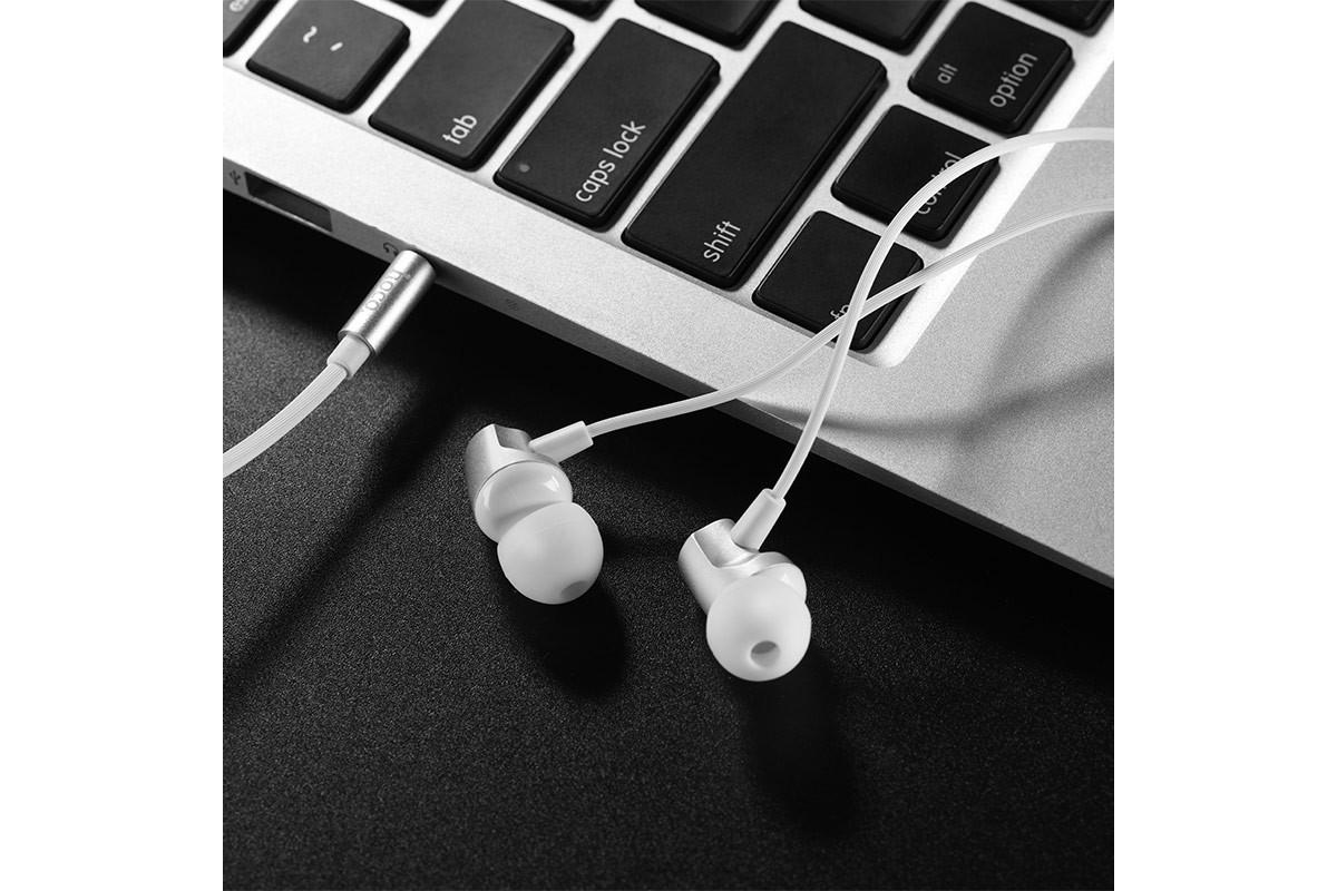 Гарнитура HOCO M41 Dizzy wire control earphones with mic 3.5мм серебристый