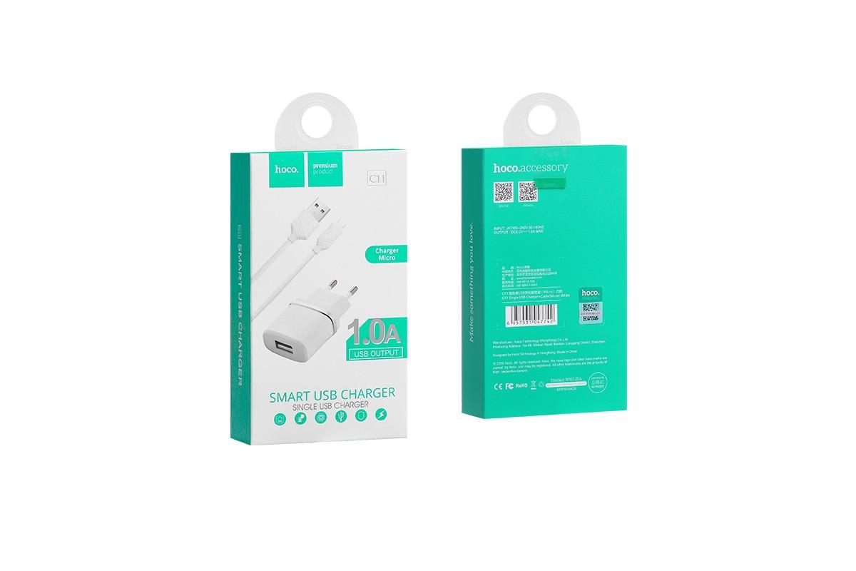 Сетевое зарядное устройство USB 1000 mAh + кабель micro USB HOCO C11 белый