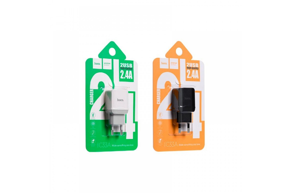 Сетевое зарядное устройство 2 USB 2400mAh  HOCO C-33А черный