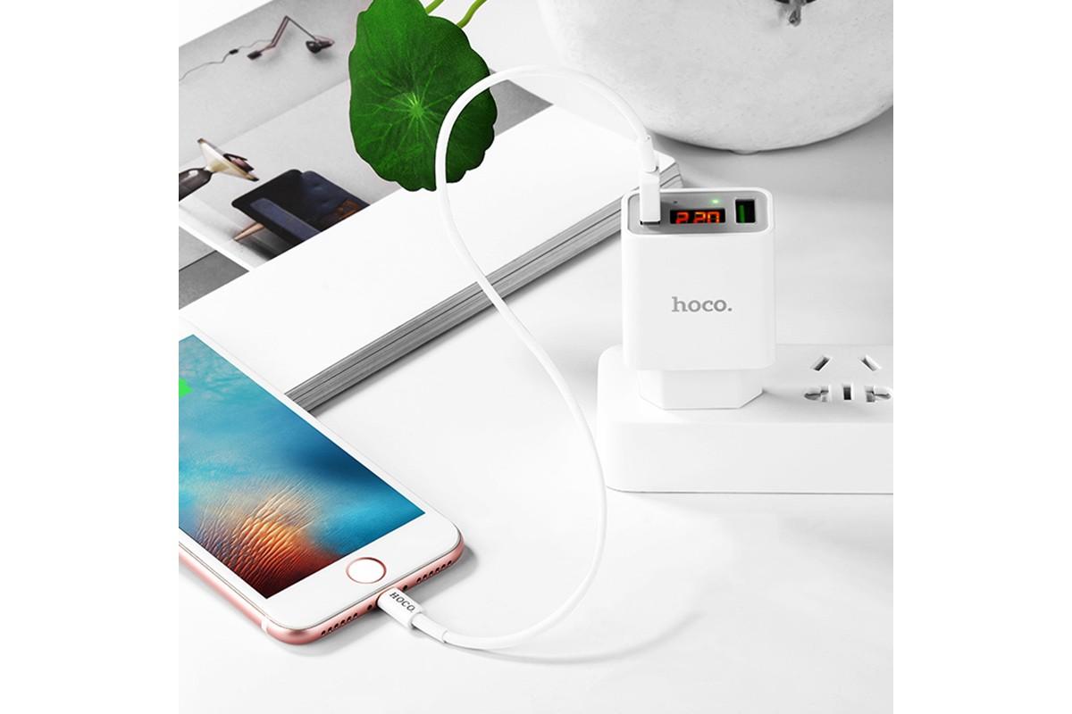 Сетевое зарядное устройство 2 USB 2400mAh  HOCO C25A Cool double port charger (индикатор заряда) белый