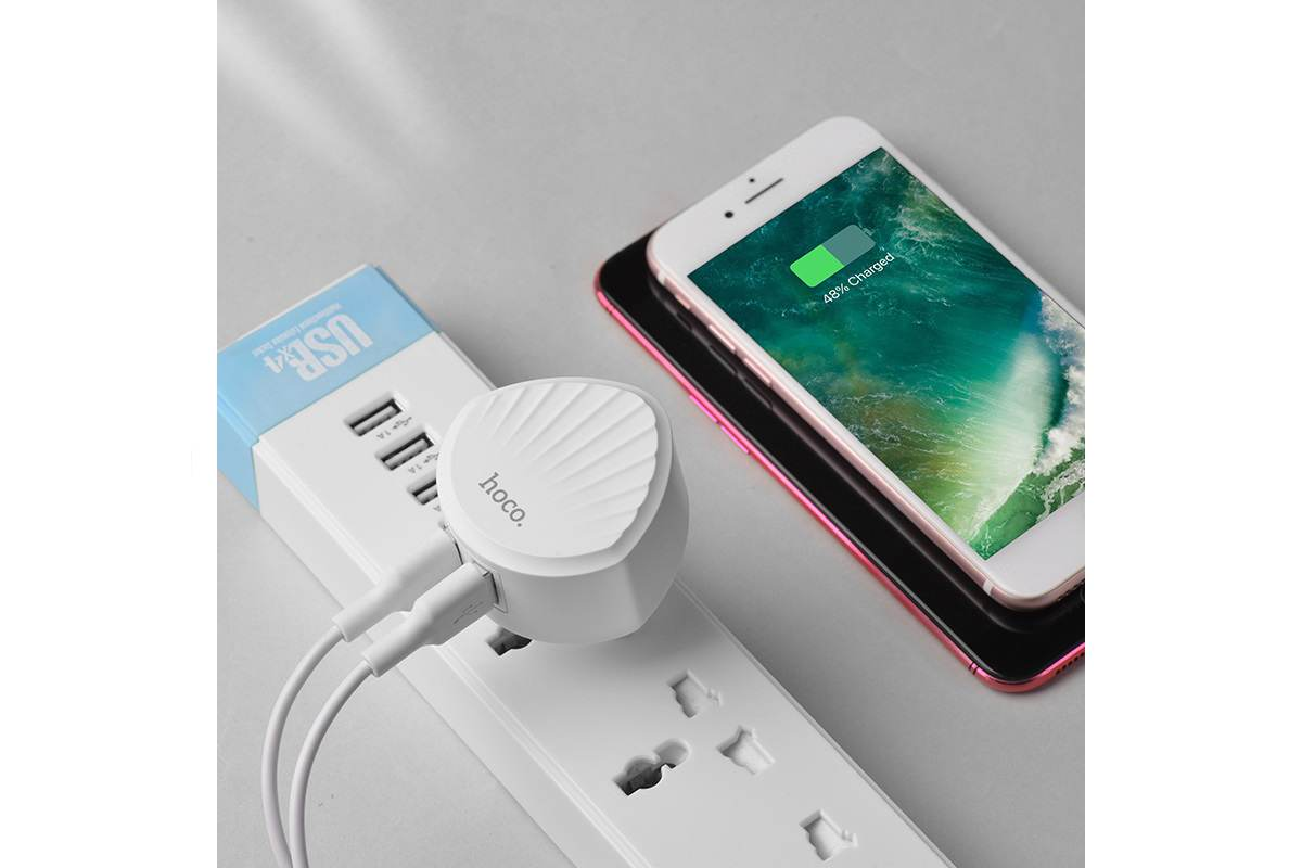 Сетевое зарядное устройство 2 USB  2400mAh  HOCO C67A Shell dual port charger  белый