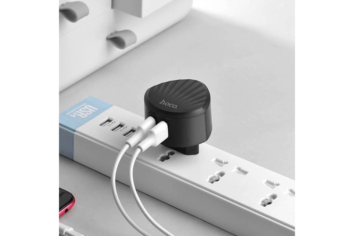 Сетевое зарядное устройство 2 USB  2400mAh  HOCO C67A Shell dual port charger черный