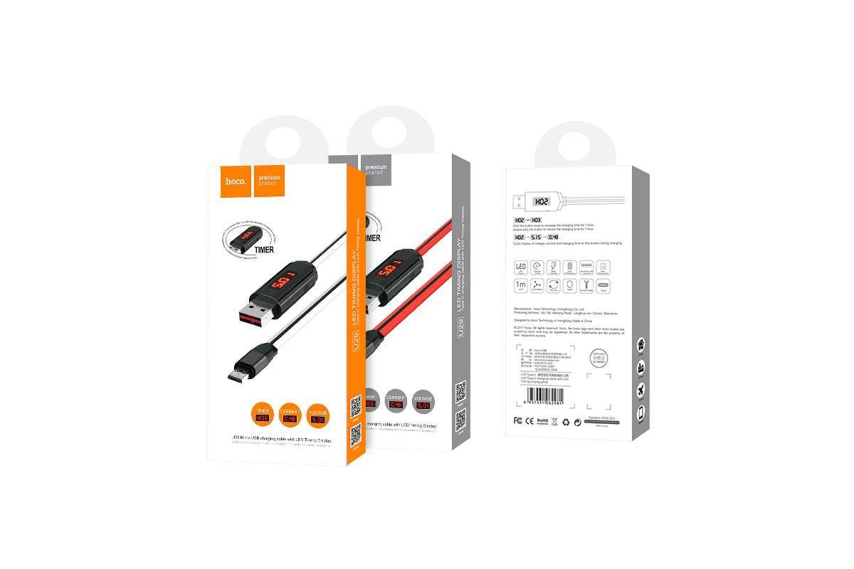 Кабель USB micro USB HOCO U29 LED displayed timing micro charging cable (красный) 1 метр