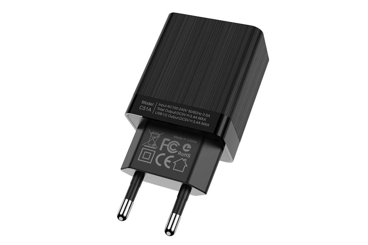 Сетевое зарядное устройство 2 USB 3400mAh  HOCO C51A Prestige power dual port charger черный