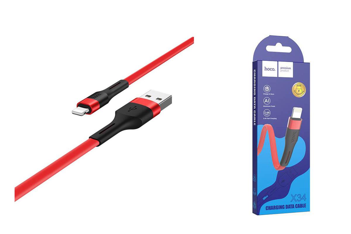 Кабель для iPhone HOCO X34 Surpass charging data cable for Lightning 1м красный