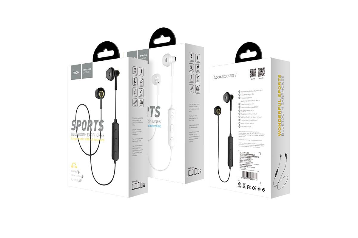 Bluetooth-гарнитура ES21 Wonderful sports wireless headset HOCO черная