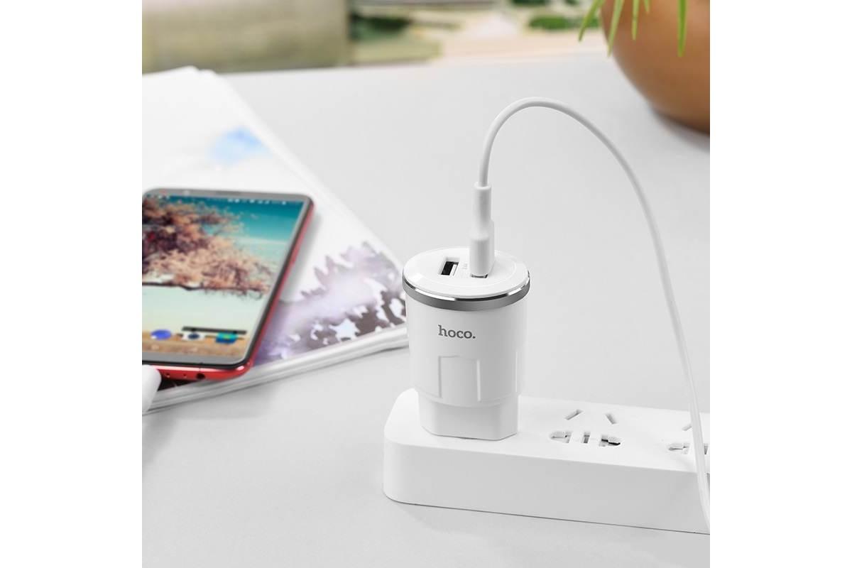 Сетевое зарядное устройство 2 USB 2400mAh  HOCO C38A Tunder power dual-port  charger (индикатор заряда) белый