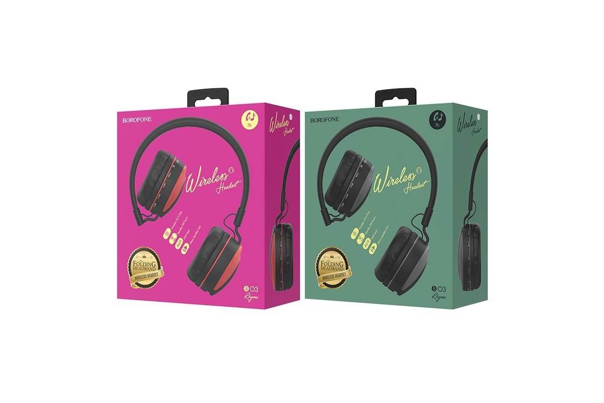 Беспроводные внешние наушники BO3 BOROFONE Rhyme wireless headset серый