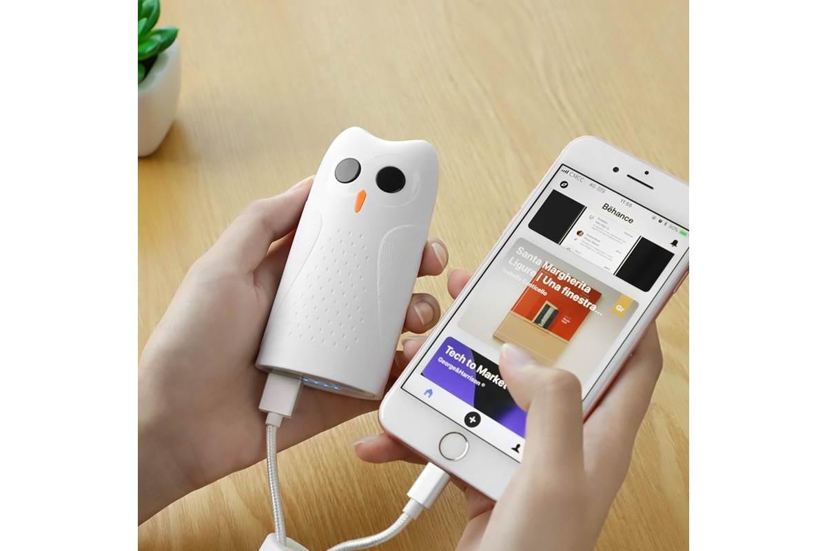 """Универсальный дополнительный аккумулятор HOCO KJ2 mobile power bank  5000 mAh белый """"Совенок"""""""