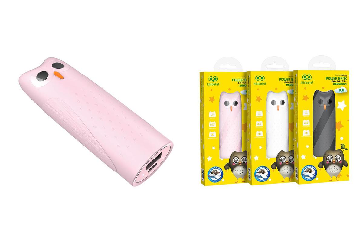 """Универсальный дополнительный аккумулятор HOCO KJ2 mobile power bank  5000 mAh розовый """"Совенок"""""""
