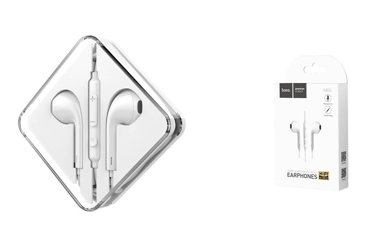 Гарнитура HOCO M55 Memory sound wire control earphones with mic белая
