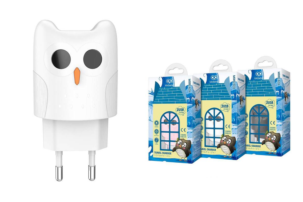 """Сетевое зарядное устройство 2 USB 2400mAh  HOCO KC1A Dual port charger """"Совенок"""" белый"""
