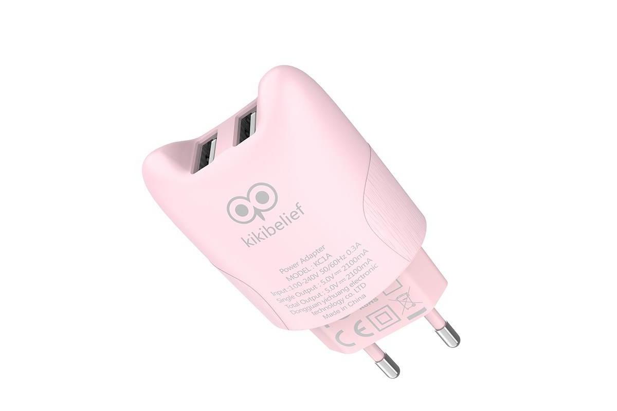 """Сетевое зарядное устройство 2 USB 2400mAh  HOCO KC1A Dual port charger """"Совенок"""" розовый"""