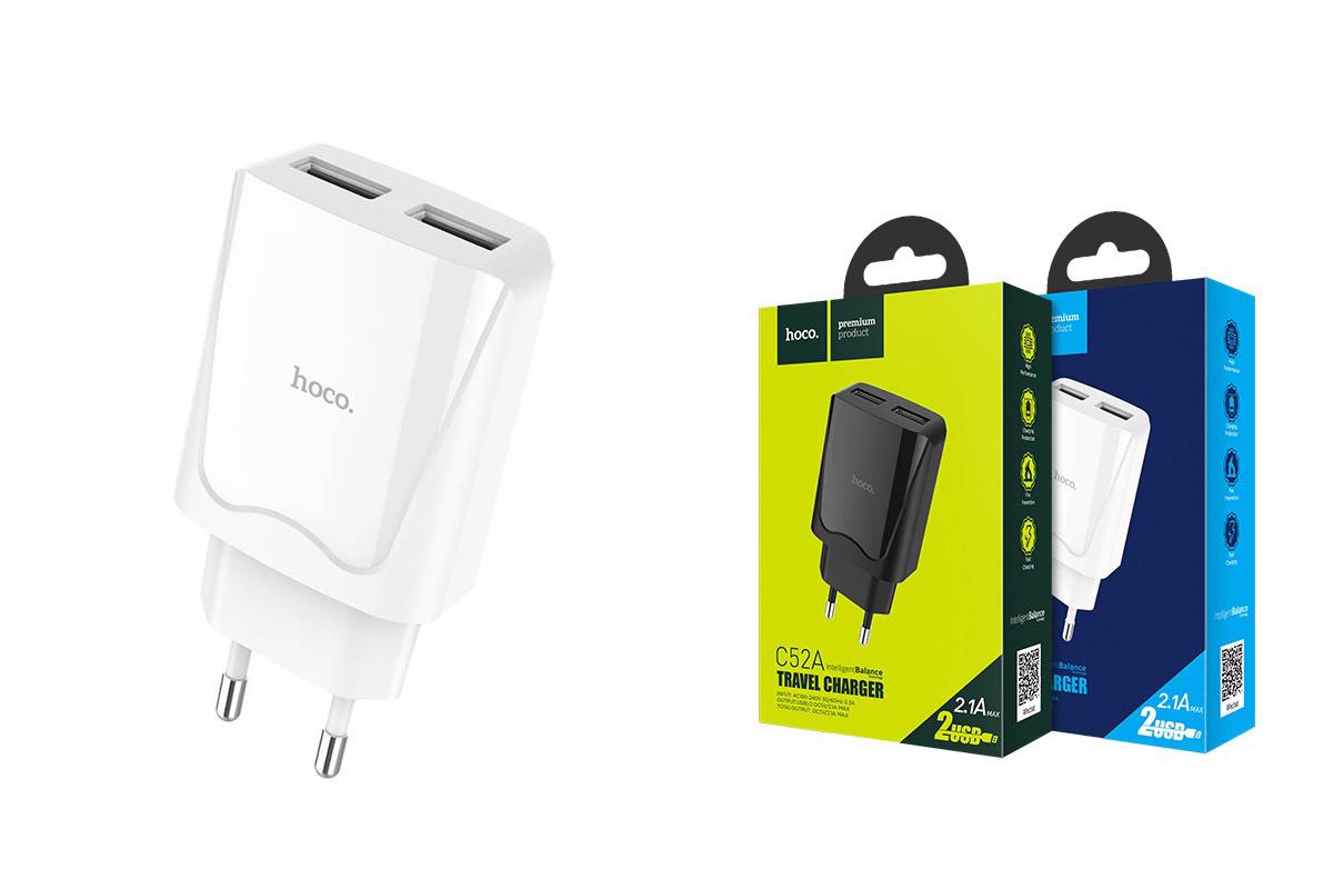 Сетевое зарядное устройство 2 USB 2400mAh  HOCO C52A Authority power dual port charger белый
