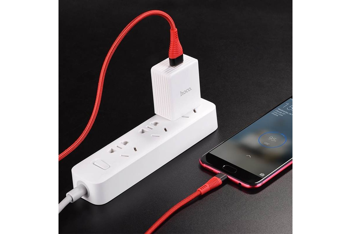 Кабель USB micro USB HOCO U53 4A Flash charging data cable (красный) 1 метр