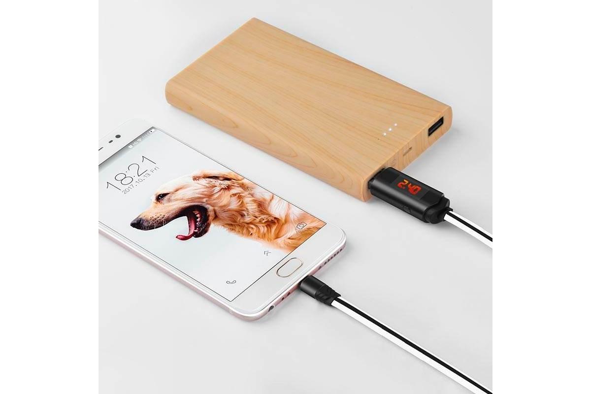 Кабель USB micro USB HOCO U29 LED displayed timing micro charging cable (белый) 1 метр
