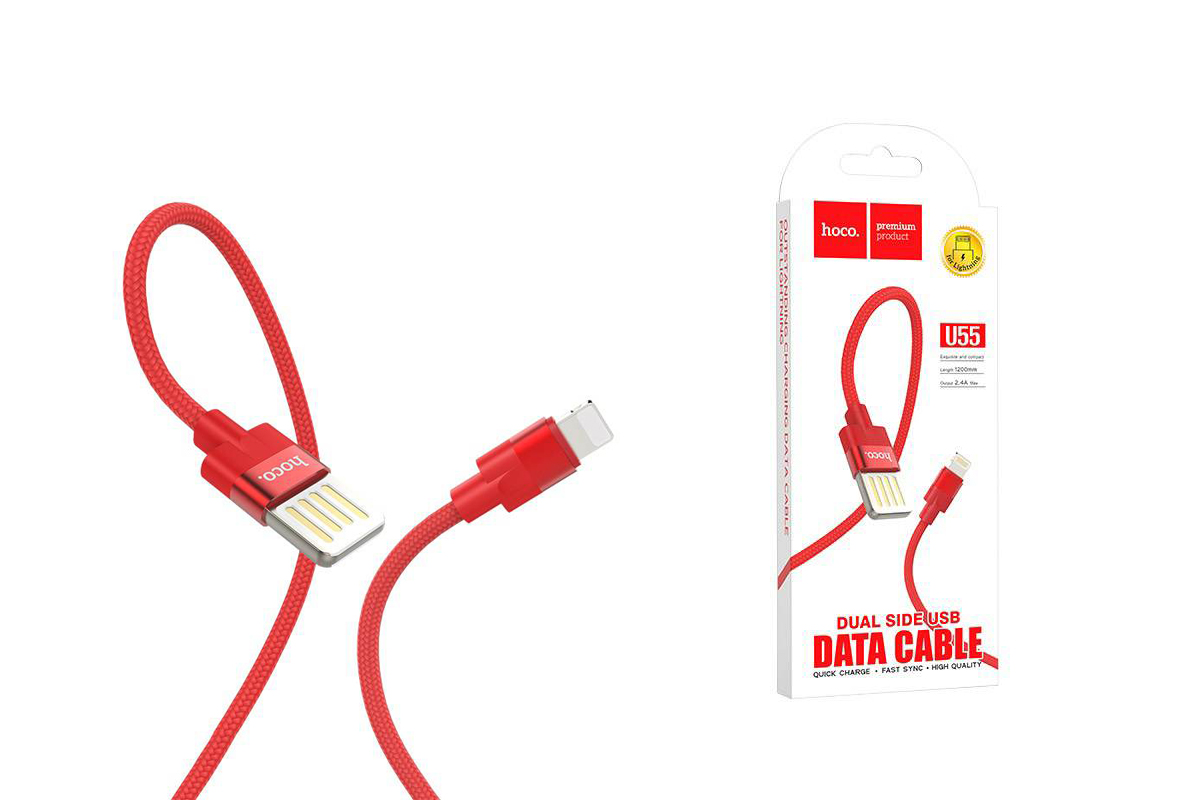 Кабель для iPhone HOCO U55 Outstanding charging data cable for Lightning 1м красный