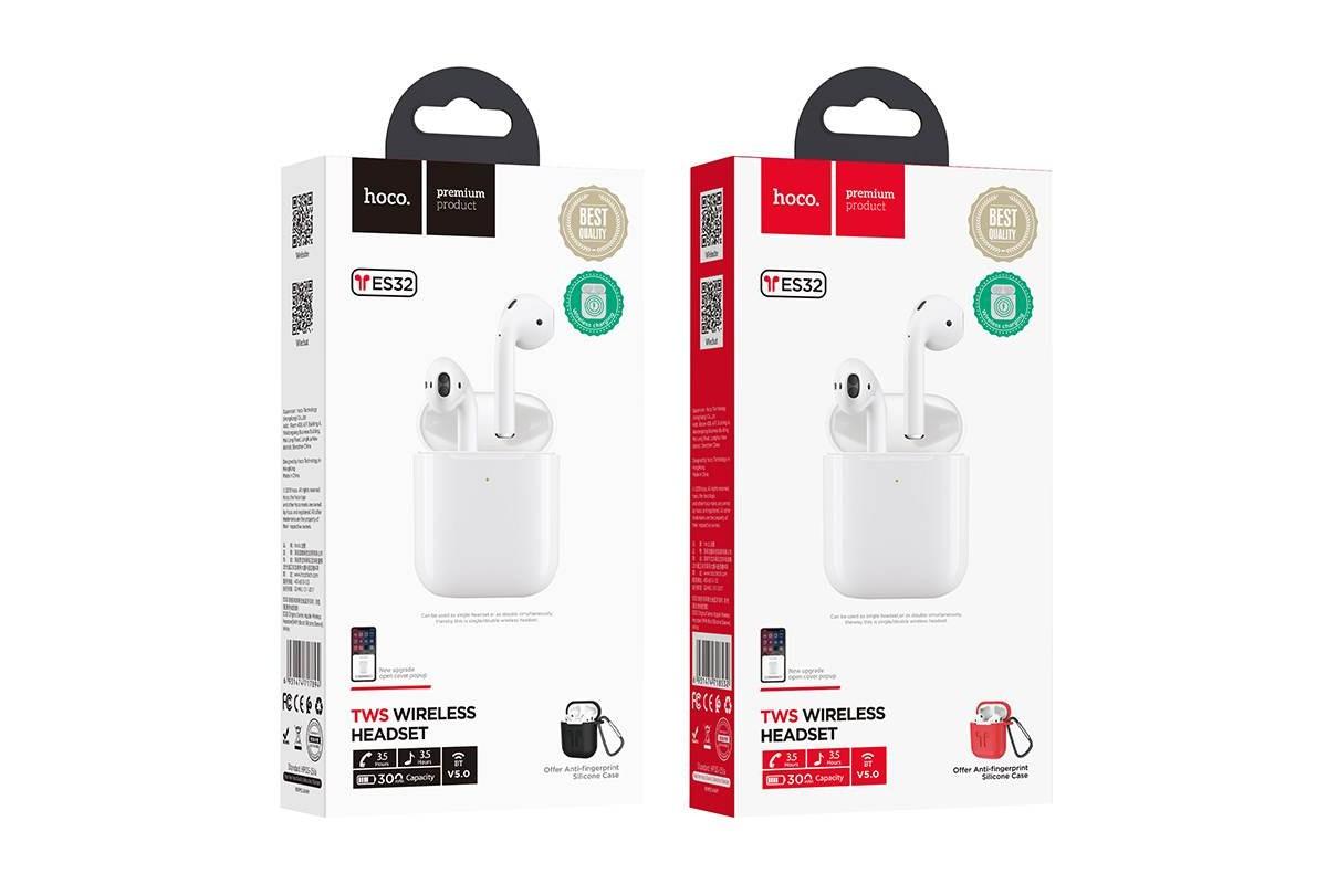 Bluetooth-гарнитура ES32 Original series apple wireless headset HOCO белая (Черный силиконовый чехол) + заушники
