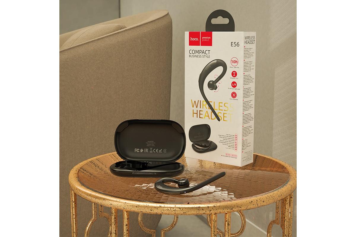 Bluetooth-наушники гарнитура E56 Shine business BT headset HOCO черная