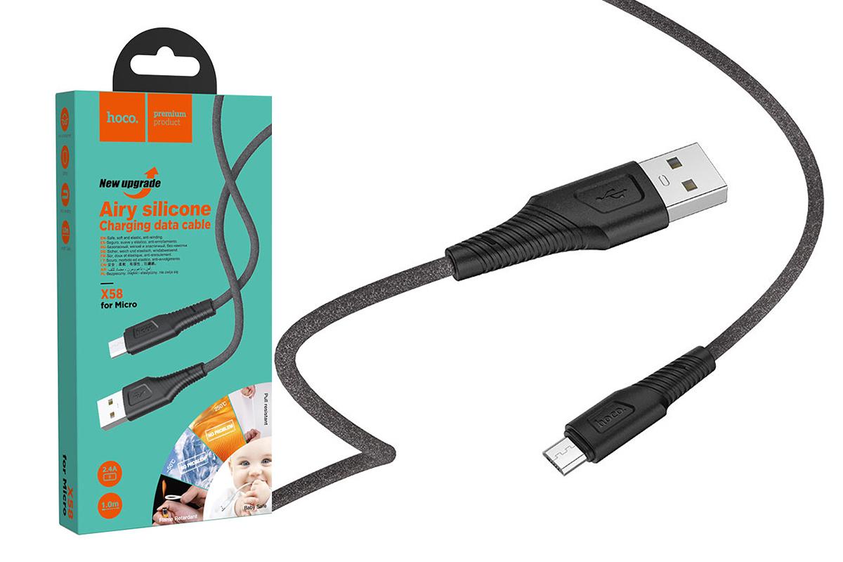 USB D.CABLE micro USB HOCO X58 (черный) 1 метр