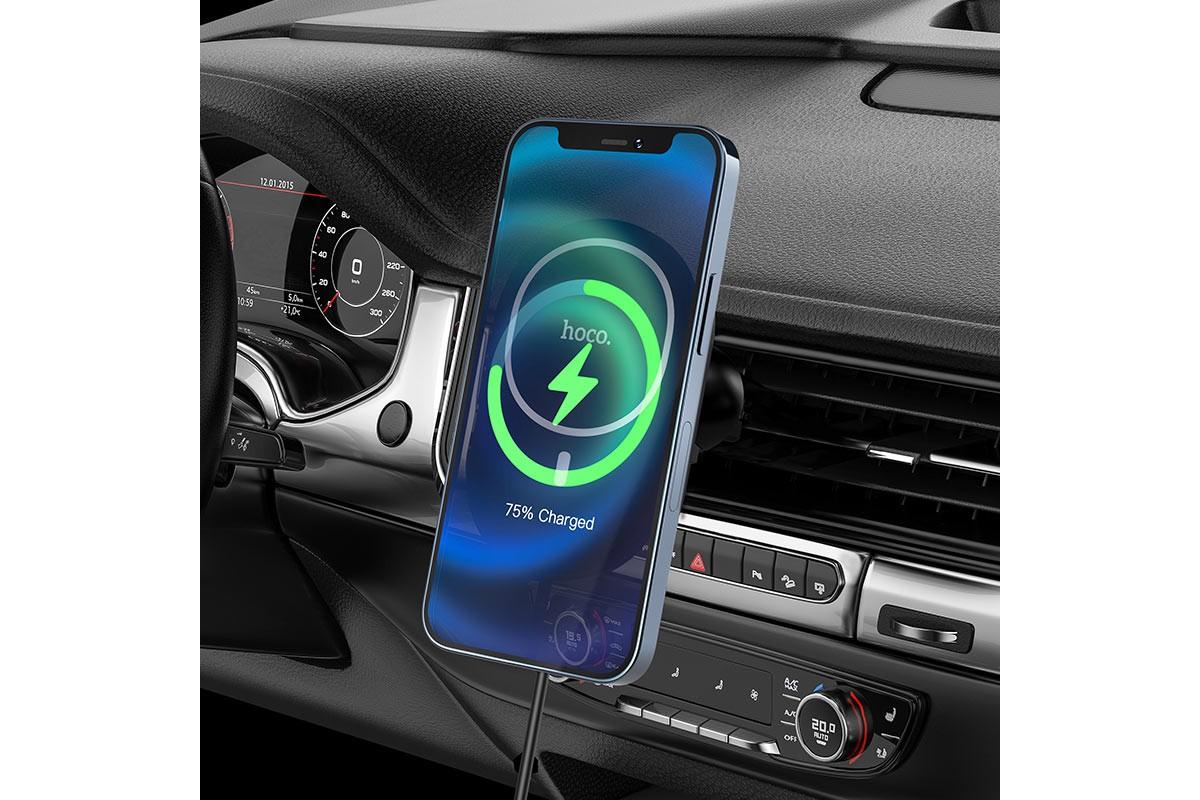 Держатель авто HOCO CA90 Powerful wireless charging car holder черный