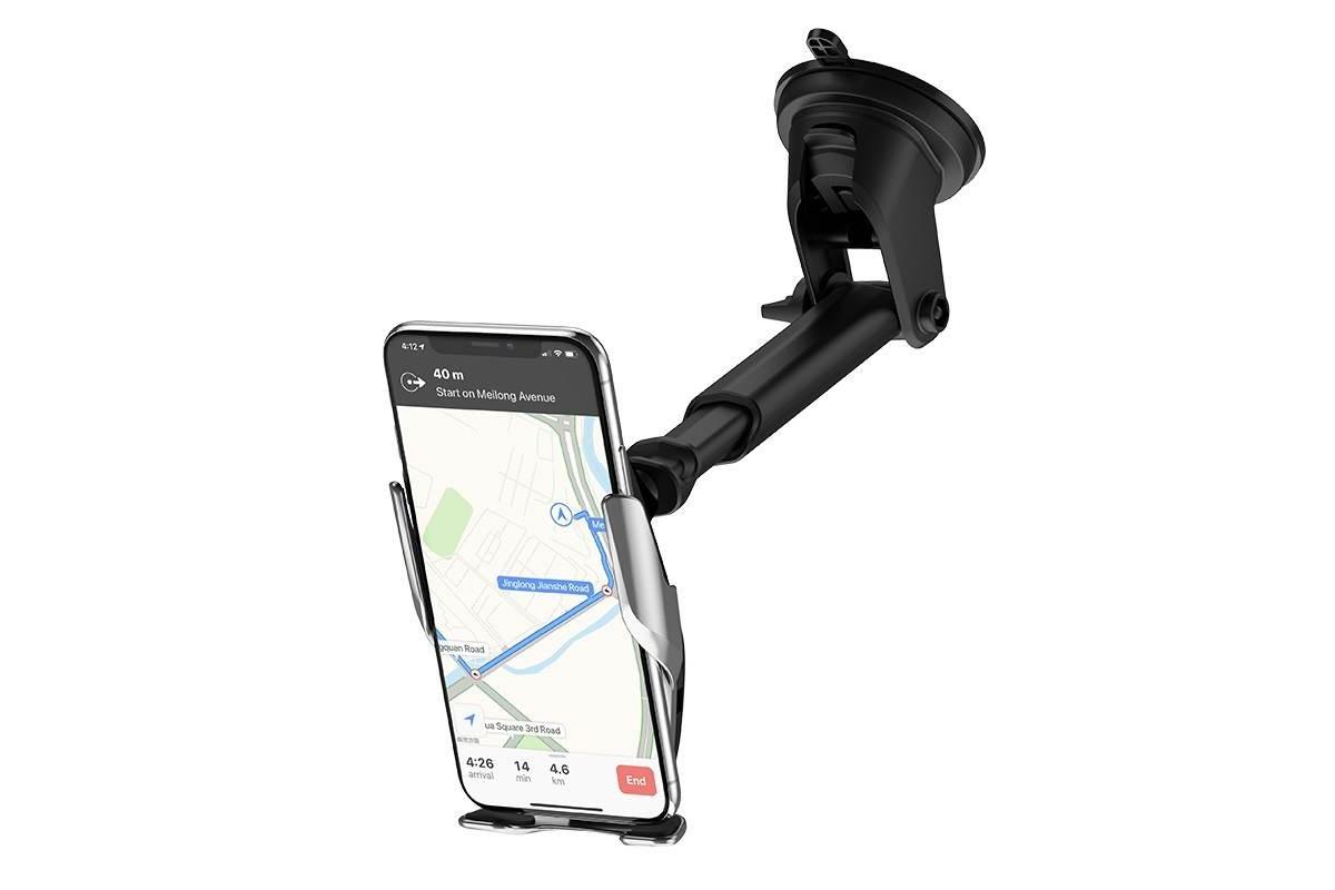 Держатель авто HOCO S14 Surpass automatic induction wireless charging car holder черный