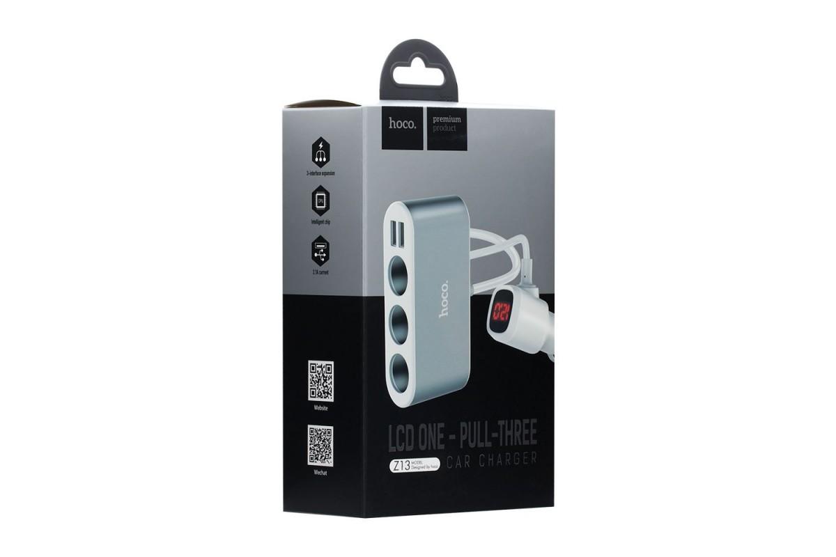Разветвитель розетки автоприкуривателя на 3 гнезда HOCO Z13 LCD one-pull-three car charger