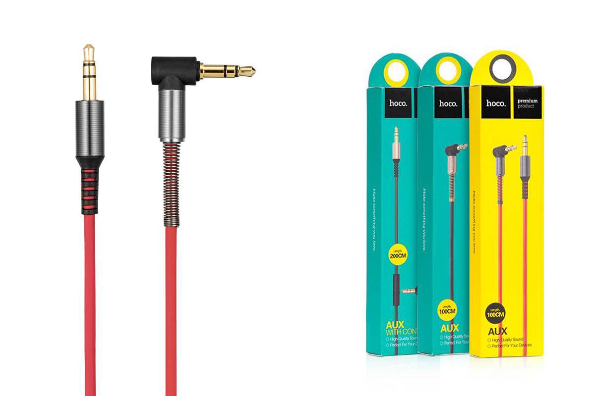 Кабель удлинитель HOCO UPA02 AUX Spring Audio cable 3.5 1 метр красный
