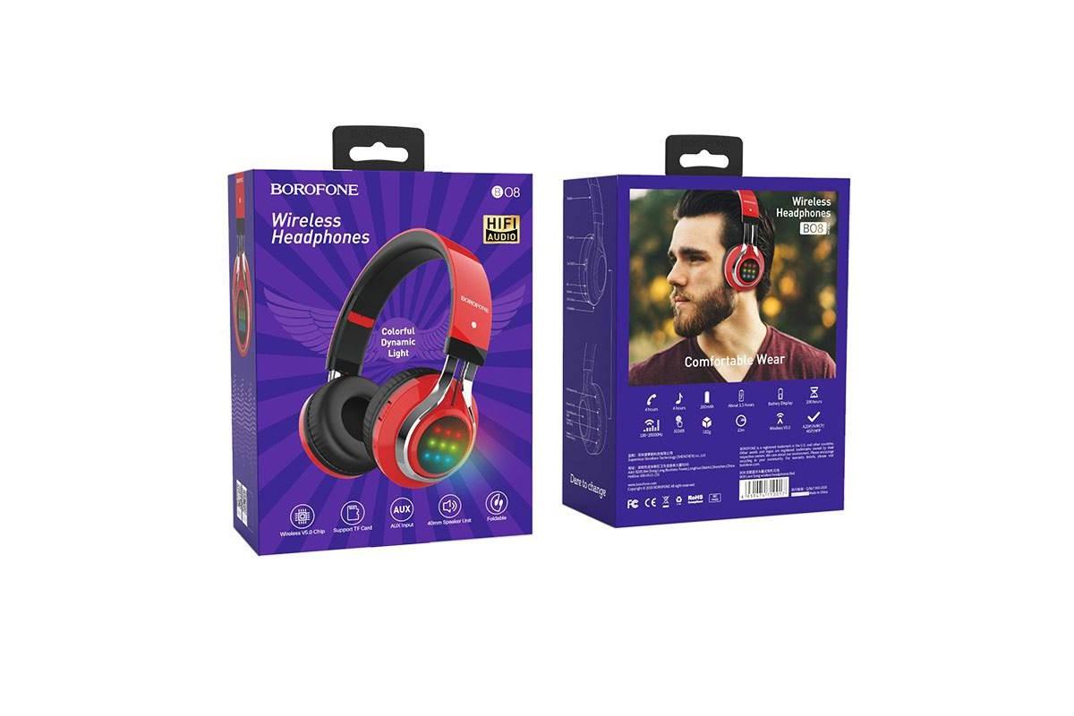 Беспроводные внешние наушники BO8 BOROFONE Love Sound wireless headset красный