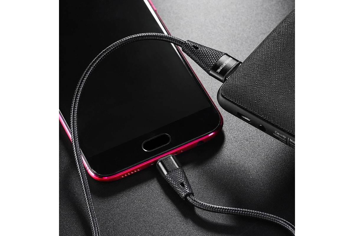 Кабель USB micro USB BOROFONE BU10 Pineapple charging cable (черный) 1 метр