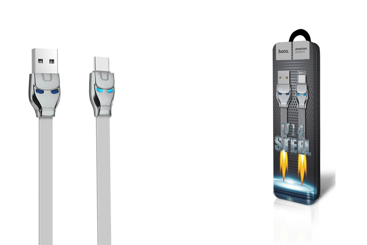 Кабель USB HOCO U14 Type-C cable (серый) 1 метр