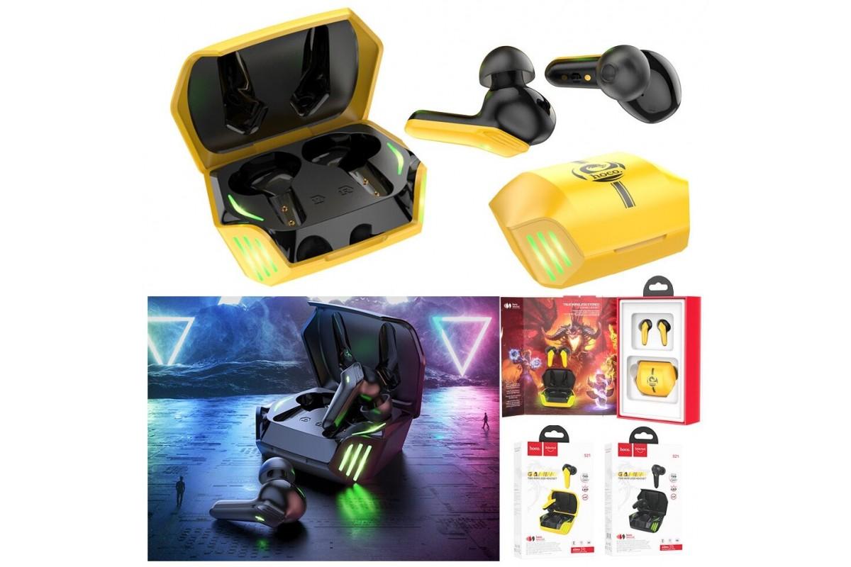 Беспроводные наушники S21 Magic shadow wireless BT gaming headset HOCO черно-желтая