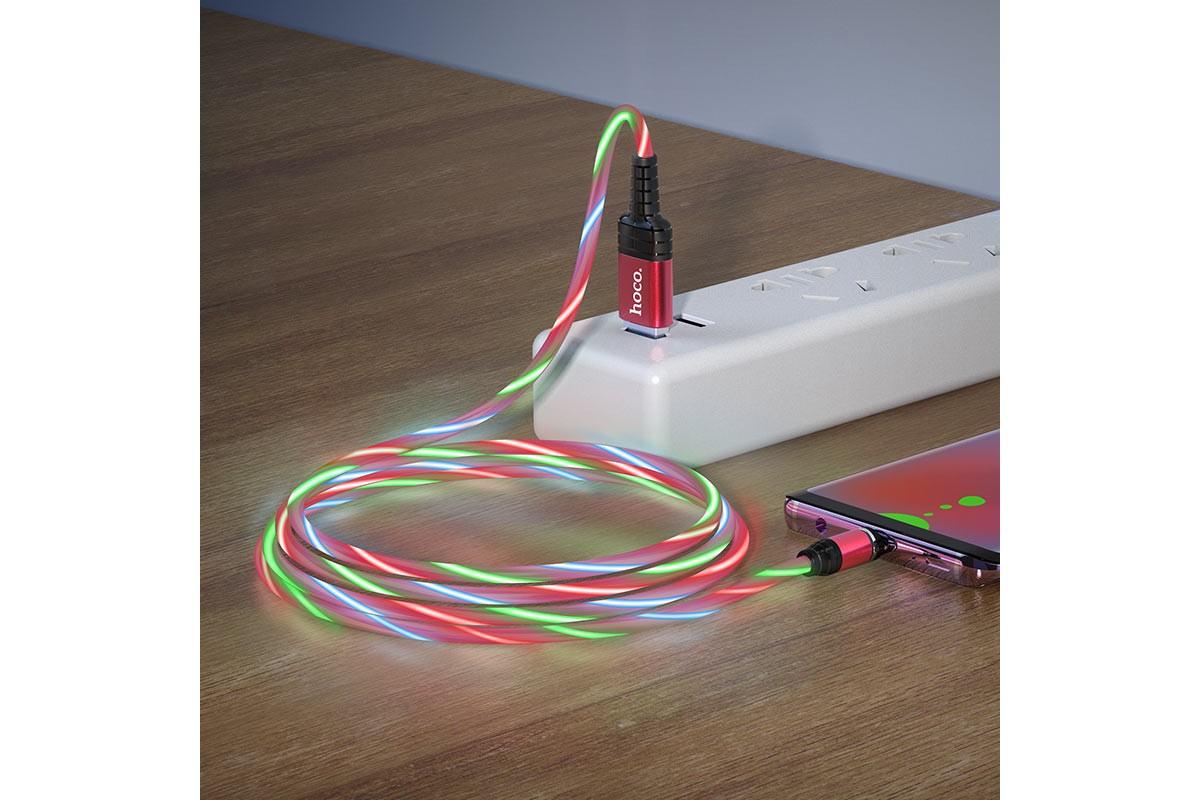 Кабель USB micro USB HOCO U90 Ingenious streamer charging cable for Micro (красный) 1 метр