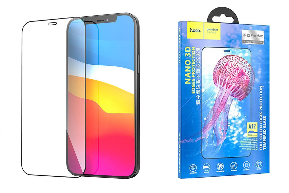 Защитное стекло дисплея iPhone 12 Pro Max (6.7)  HOCO A12 Nano 3D full screen edges protection tempered glass черное