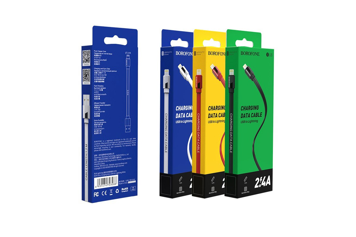 Кабель для iPhone BOROFONE BU8 Glory charging data cable for Lightning 1м красный