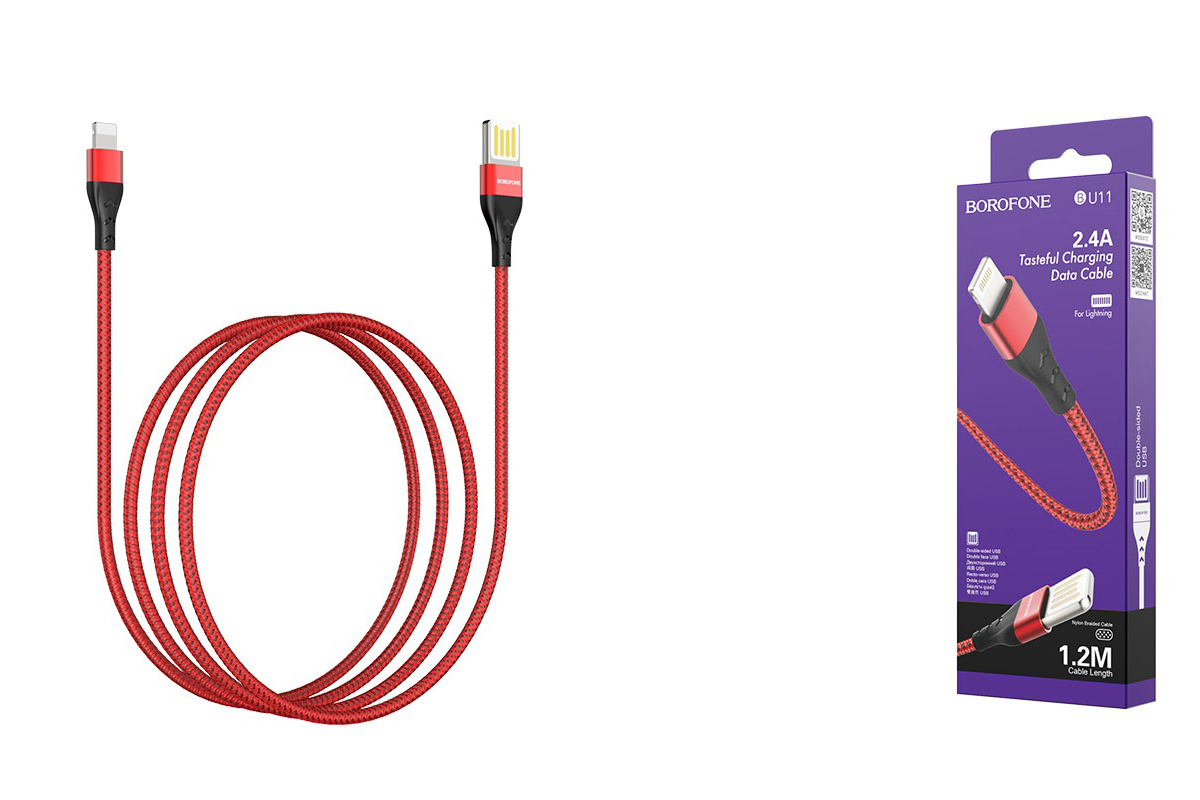 Кабель для iPhone BOROFONE BU11 Tasteful charging data cable for Lightning 1м красный
